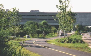 The Minuteman Bikeway connects to the Alewife MBTA Station in Cambridge, providing transportation access to subway and bus service.